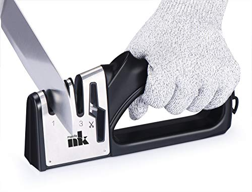 Knife Sharpener Makife 4 in 1 Kitchen Knife Scissors Sharpening Tool, Manual Repaid Restore and Polish Blades - Cut-Resistant Glove Included (Black) ()