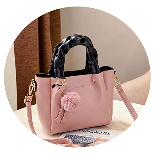 Handbag for Women Shoulder Bag PU Leather Fashion Flamingo Hairball Tote Bag Luxury Designer solid cross-body,Pink,23x12x20cm