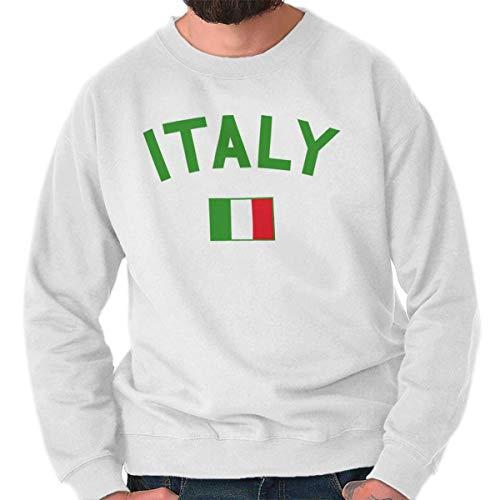 Brisco Brands Italy Country Flag Soccer Fan Italian Pride Crewneck Sweatshirt White