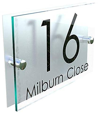 920b5cda71bb MODERN HOUSE SIGN PLAQUE DOOR NUMBER STREET GLASS EFFECT ACRYLIC ALUMINIUM  NAME: Amazon.co.uk: Kitchen & Home