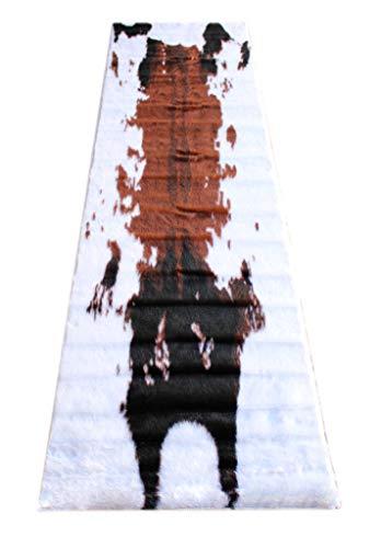 Masada Rugs, Faux Fur Cowhide Area Rug Brown White (2 Feet X 7 Feet 3 Inch) Runner (Runners Animal Rug Print)