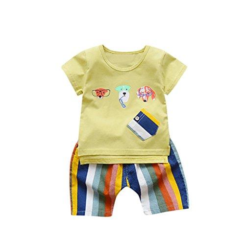 (FEITONG 2PC Toddler Kids Baby Boy Cartoon Dog Printed Short Sleeve T Shirt Tops+ Rainbow Striped Shorts Outfits Clothes Set (Yellow,)