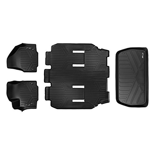 MAX LINER A0232/B0291/E0232 MAXFLOORMAT Floor Mats and MAXTRAY Cargo Liner (Behind 3rd Row for Pacifica 7 Passenger Non Hybrid (2017-2018) Black)