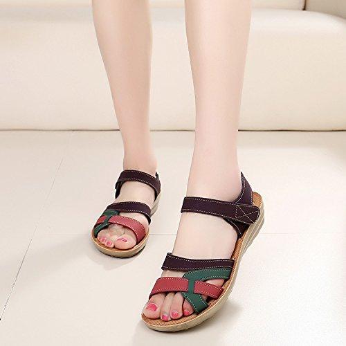 Moda Mujer verano sandalias confortables tacones altos,37 negro card color