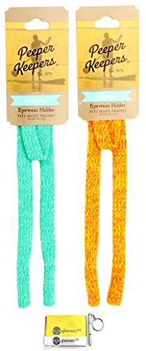 Peeper Keepers Attitube Sportband, Aqua Heather and Orange Heather, 2 pack mix, (260 Eyeglasses)