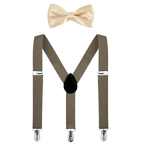 Kids Suspender Bow Tie Sets - Adjustable Braces With Bowtie Gift Idea for Boys and Girls by WELROG(Camel) (Kids Camel Costume)