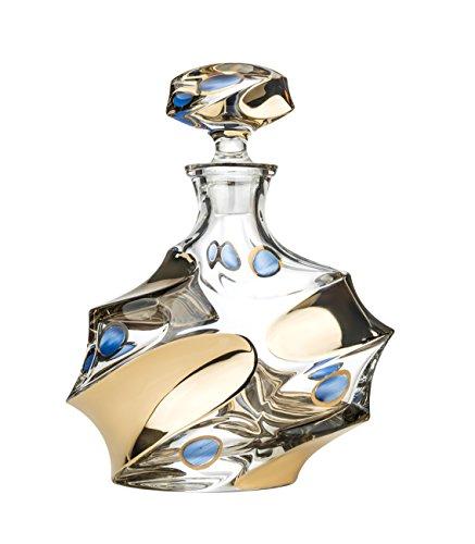 - Bohemia Jihlava JS16068, 24 Oz. Calypso Crystal Decanter, Whisky Scotch Brandy Carafe with Platinum Trim, Classic Wedding Gift Carafe with Gilding