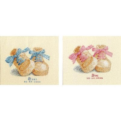 Pink and Blue Booties Birth Record Counted Cross Stitch Kit
