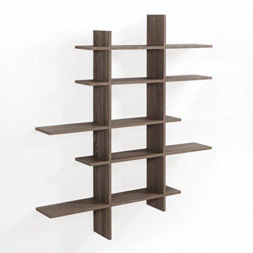 Danya B. XF151204OK Asymmetric Wall Shelves, (Oak Wall Shelf)