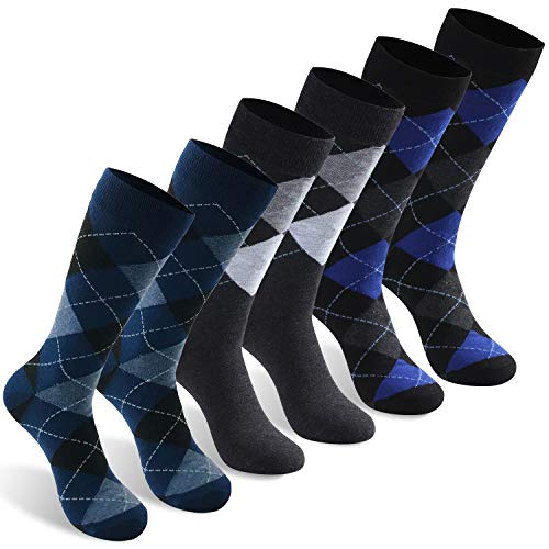 Crew Novelty Dress Socks, INCHER Mens Ultimate Classics 3 Kinds of Argyle Novelty Funny Socks Mid Calf Long Tube Casual Boot Gift Socks,6 ()