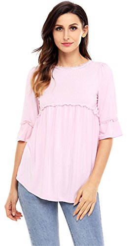 (Arctic Cubic Sexy 3/4 Sleeve Lace Spliced Trim Empire Waist Pleated Blouse Shirt T-Shirt Swing Trapeze Babydoll Top Pink M)