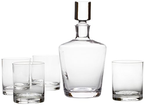 Mikasa 5117521 Donovan European Decanter and Double Old Fashioned Glass Set, 5-Piece, Clear ()