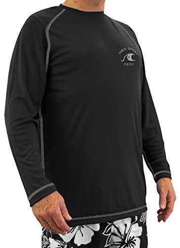 (H2O Sport Tech Long Sleeve Raglan Swim Shirt Black 4XL #724A)