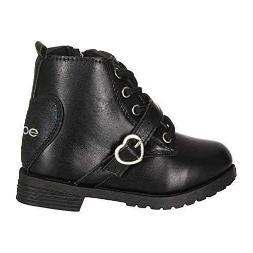 bebe Toddler Girls Lace up Combat Boots Size 8 Heart Buckle Straps Fashion PU Shoes Black ()