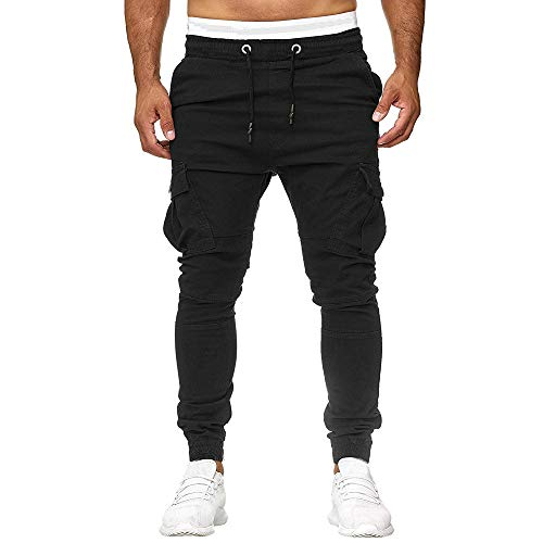 Mumustar Men Trousers Slim Fit Elasticated Waist Casual Sports Jogger Sweat Pants Cuffed Hem Cargo Chinos with Baggy…