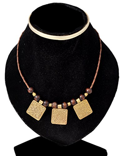 CraftsOfEgypt Bohemian Boho Hippie Ethnic African Style Leather Necklace Collar for Women with Wood Beads and 3 Pieces Brass Pendants