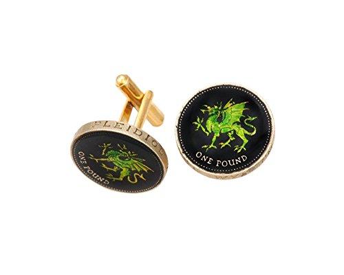 Wales Green Dragon Coin Cufflinks (Cufflinks Green Dragon)