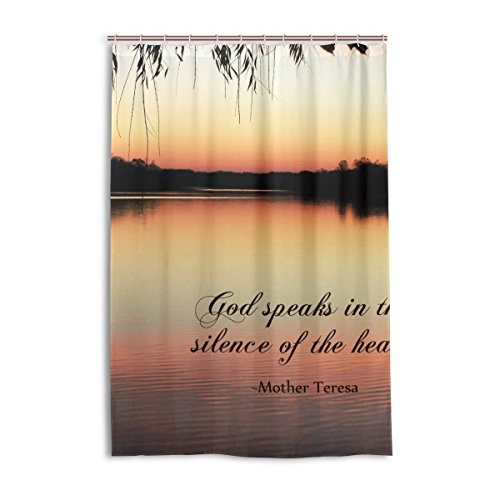 WOOR 48 X 72 Inches Serenity Quotes Fabric Shower Curtain Set with Hooks Bathroom drape Waterproof Polyester