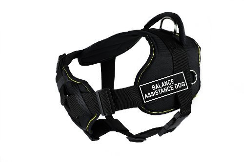 Dean & Tyler Fun Works Balance Assistance Dog Harness with Padded Chest Piece, Large, Fits Girth Size: 32-Inch to 42-Inch, Black with Yellow Trim