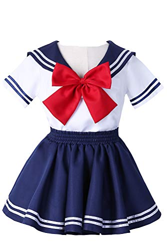 Joyshop Anime Kids Girl's School Uniform Sailor Dress,Medium -