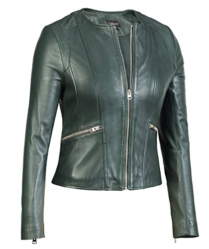 Womens Green Leather Jacket Collarless Round Neck – Soft Lambskin (Large, Green) -