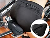 Soft Bike Seat Gel Cover Cushion Bicycle Wide Saddle (10x11in) - Exercise Stationery Spin Bike Road Mountain Cruiser Bike - Men & Women