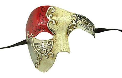 Kayso® Red/silver Phantom Mask RED Musical Half Face Venetian Masquerade Mask Phantom Design for Men from KAYSO
