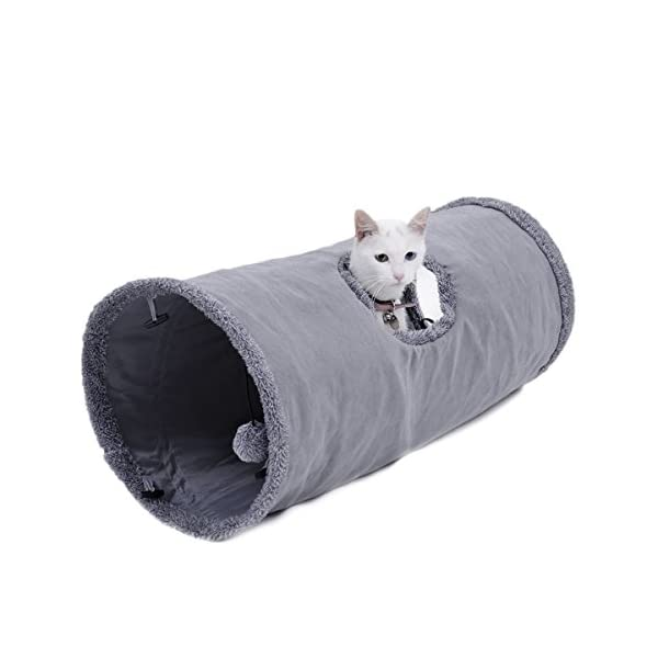Speedy Pet Collapsible Cat Tunnel, Cat Toys Play Tunnel Durable Suede Hideaway Pet Crinkle Tunnel with Ball,12 inch Diameter 2