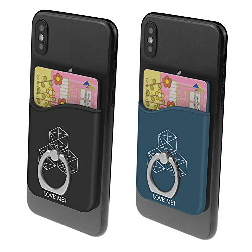 Stick on Phone Pocket with Finger Ring Holder Credit Card Slot Compatible with Smart Phones (Pack of 2) (Blue, Black)