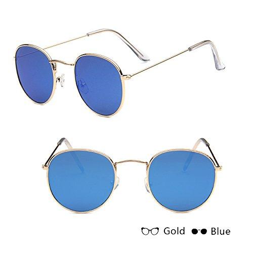 a7ea4809d0 WISH CLUB 2018 Fashion Sunglasses For Women Retro Round Sun Glasses Women s  Alloy Mirror Sunglasses lentes female oculos de sol gold W blue  Amazon.in   ...
