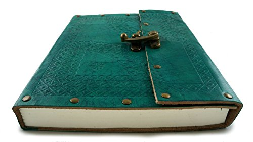 Leather Diary Journal Notebook Turquoise Embossed with Clasp Lock 9