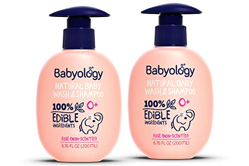Babyology – 100% Edible Ingredients – Baby Wash & Shampoo – Non-scented (Organic Rose Water) – Clinically Tested – Tear-Free – 6,67 FL. OZ – Perfect Baby Shower Gift (2 Pack)