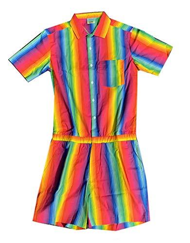 Zesties Pride Romper - Gay Pride Rainbow Male Romper (XXL, Prism)
