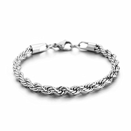 HolyFast 3-5mm Twist Chain Necklace Stainless Steel Bracelet 7-9 Inches Men Women Jewellery