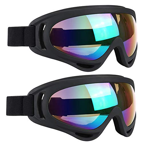 ELECOOL Ski Goggles 2 Packs, Multicolor Lenses Snow Goggles with Wind Dust UV 400 Protection for Women Men Kids Girls Boys Winter Snowboard Snowmobile Skiing Skate Motorcycle Bicycle Riding