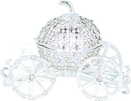 (VI N VI Silver Rhinestone Princess Cinderella Crystal Pumpkin Carriage Trinket Box, Jewelry Box with Detachable Pumpkin/Hand Painted Collectible Figurine and Decorative Jewelry Display, Holder, and)