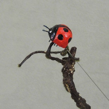 (Set of 12 Artificial Large Ladybugs on Pick for Crafting and)