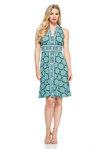 London Times Women's Border Print Matte Jersey FIT and Flare Dress, Black/Green, ()