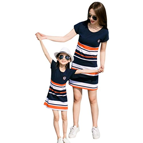 Lurryly Mom&Me Girl Mother Striped Print Family Short Sleeve Matching Dress Clothes