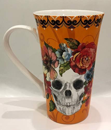 222 Fifth Halloween Marbella Sugar Skull Tall Latte Mug   Orange