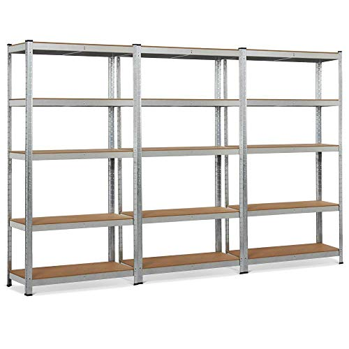 (Yaheetech 3 Pack Heavy Duty 5-Shelf Commercial Industrial Office Storage Rack Garage Shelving Unit Adjustable Boltless Steel Display Stand, 71