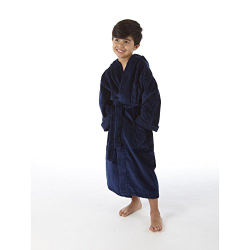 TurkishTowels Terry Velour Hooded Kids Bathrobe (Ages 7-11, Navy)