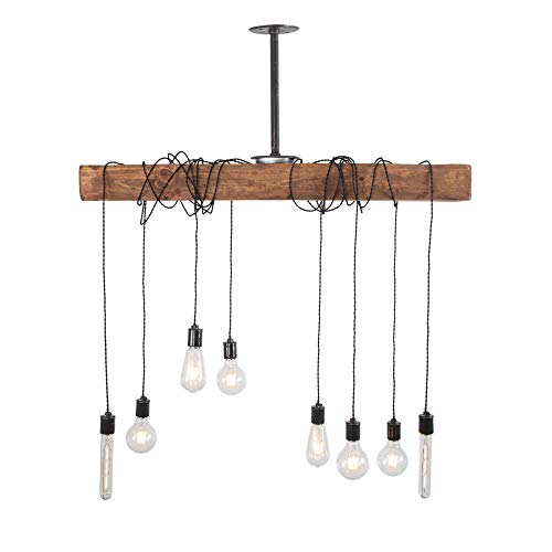 West Ninth Vintage Pendant Wood Beam Chandelier - Indoor Downlight for Farmhouse Home Decor - Perfect for Your Dream Dining Room - Wrapped Beam - Kitchen Island - Bar - Early American Stain