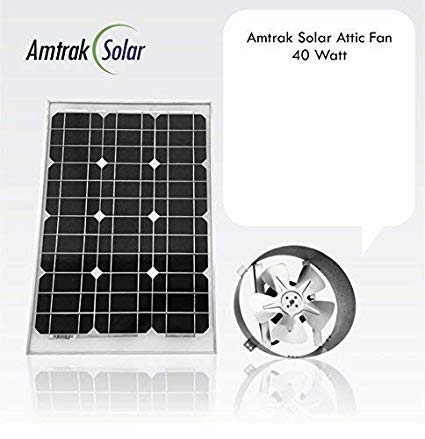 Amtrak Solar's Powerful 40-Watt Galvanized Steel Solar Attic Fan Quietly Cools your House Ventilates your house, garage or RV and protects against moisture build-up