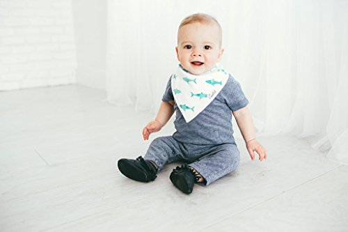 """Baby Bandana Drool Bibs for Drooling and Teething 4 Pack Gift Set For Boys """"Pacific Set"""" by Copper Pearl"""