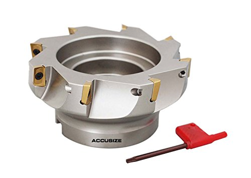 AccusizeTools - 5'' x 1-1/2'' 90 Deg. Square Shoulder Indexable Face Mill with 8 APKT1604 Inserts installed, #4508-0022B by Accusize Industrial Tools