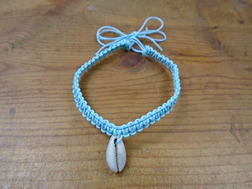 BEACH HEMP JEWELRY Cowrie Shell Anklet Bracelet Carolina Blue Adjustable Handmade In USA
