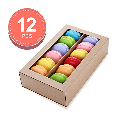 BAKIPACK 12 Pack Macaron Boxes,(Interior Mesurement 7.25×4 ×1.8 Inches), Macaron Gift Box for 12, Macaron Packaging Boxes with Clear Window Kraft without Macarons inside
