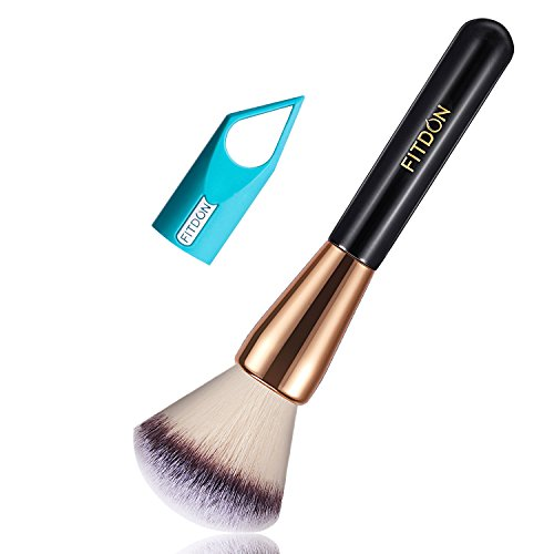 Large Powder Brush, FITDON Cosmetics Brushes for Kabuki Foundation Blending Buffing Liquid, Cream, Mineral Powder with Makeup tool Dryer Hanger (Round Brush) (Copper Powder Foundation)