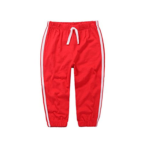 Baby Toddler Sweatpant - Unisex Cotton Long Trousers Pure Color Joggers Thin Pants Red